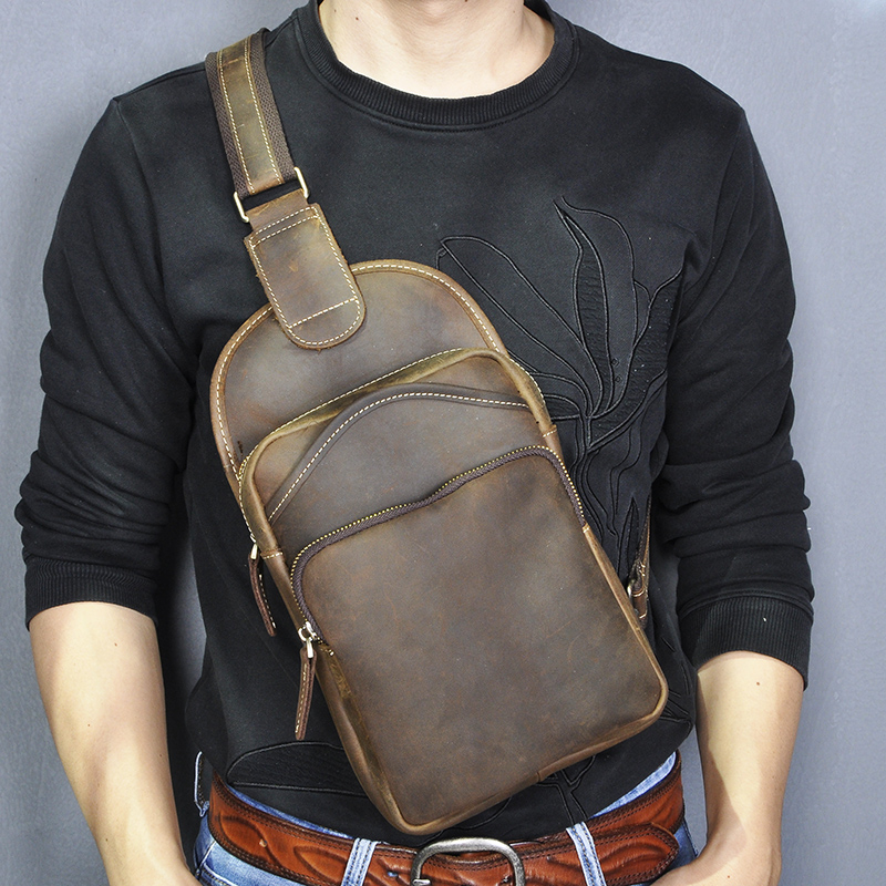 New Crazy Horse Leather Men Casual Fashion Travel Daypack Chest Sling Bag Design One Shoulder Strap Crossbody Bag Male 9977-d