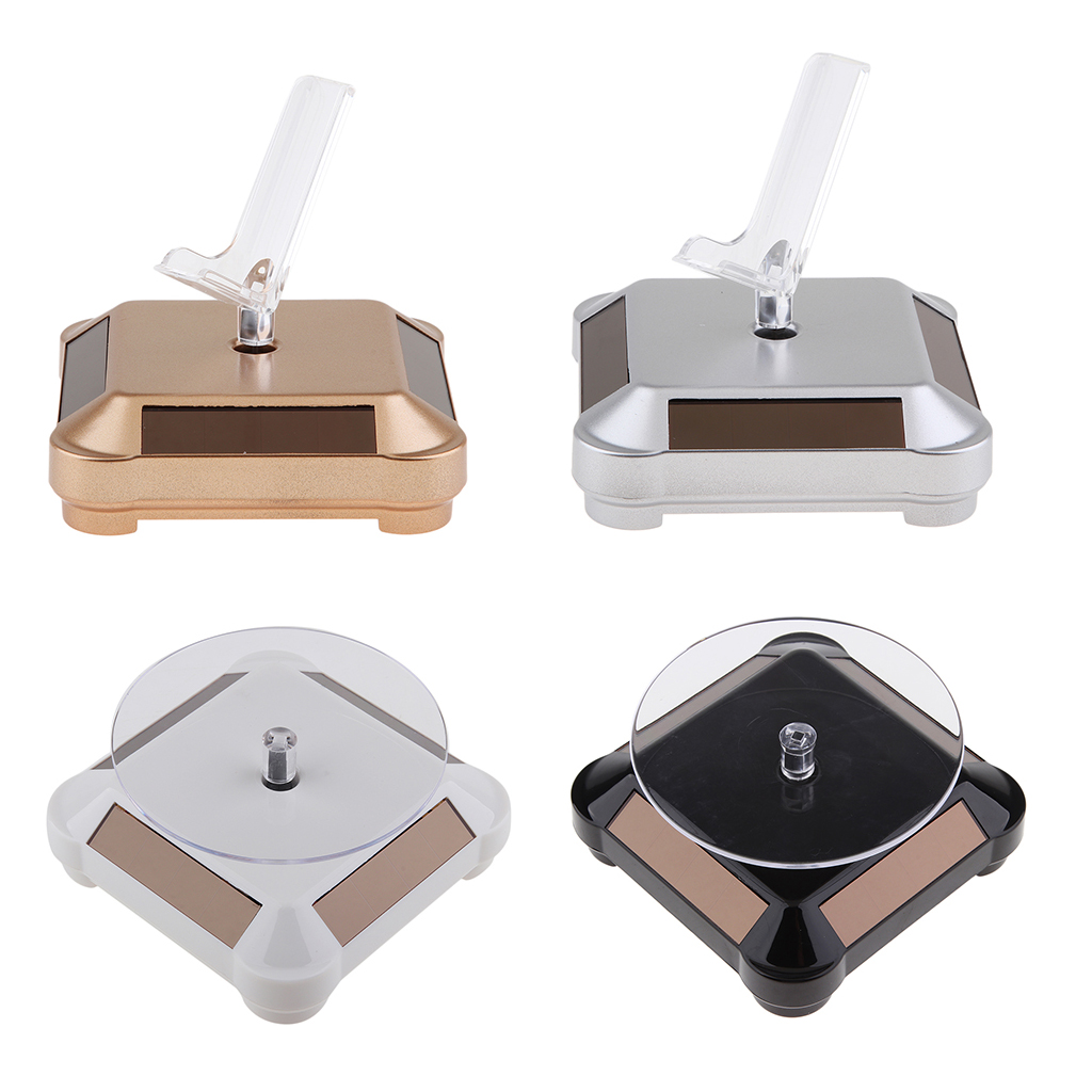 Premium Solar / Battery Powered Jewelry Camera Watch Display Turntable Turn Table Rotary Stand + Rack For Phone