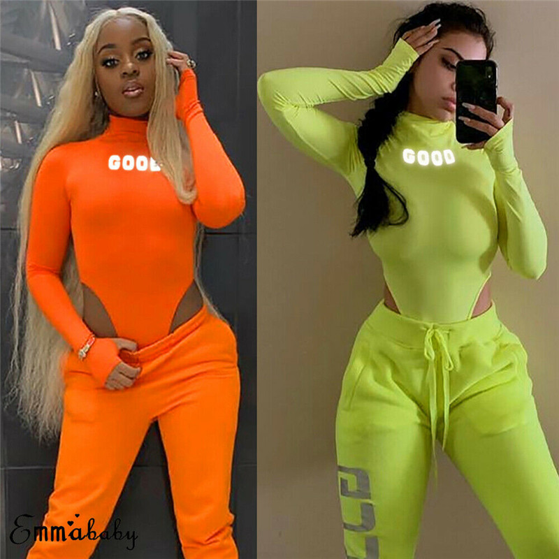 Hirigin Sexy Women Reflective Letter Print Neon Green Playsuit Bodysuit Clubwear Long Sleeve Autumn Slim Jumpsuit Rompers Tops