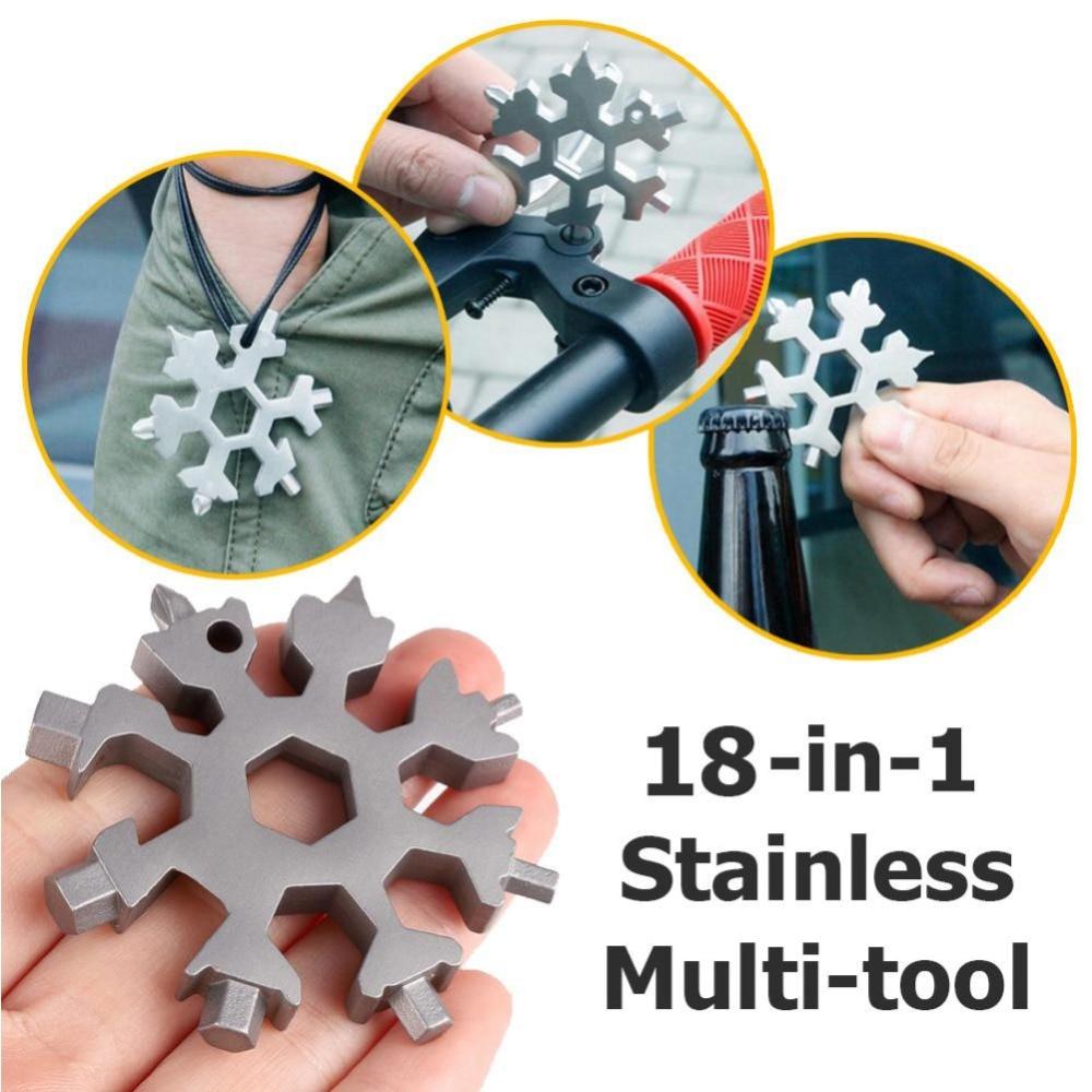 18 in 1 Snowflake Tool Card Combination Multifunctional Snowflake Screwdriver Snowflake Wrench Tool Snowflake Tool Multi
