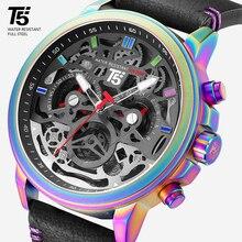 Deri kayış T5 lüks siyah erkek kuvars Chronograph su geçirmez erkek spor erkek izle saatler kol saatleri saat