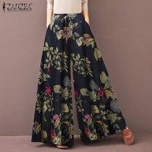 ZANZEA femmes Pantalon à jambes larges printemps taille haute Vintage imprimé fleuri Pantalon décontracté ample Pantalon Long grande taille Palazzo S-5XL