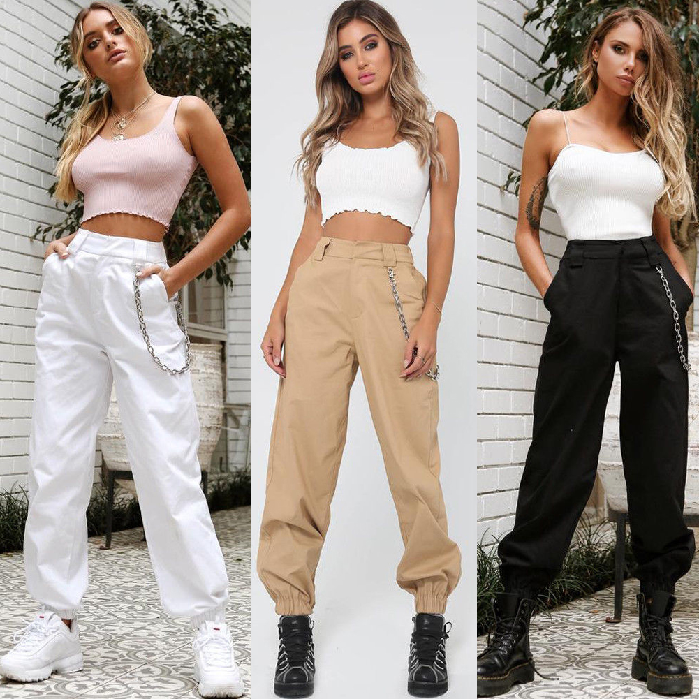 Summer Thin Plus Size  Women High Waist Cargo Pants Women Loose Solid Black Khaki White Trousers Pockets Elastic Waist Bottoms