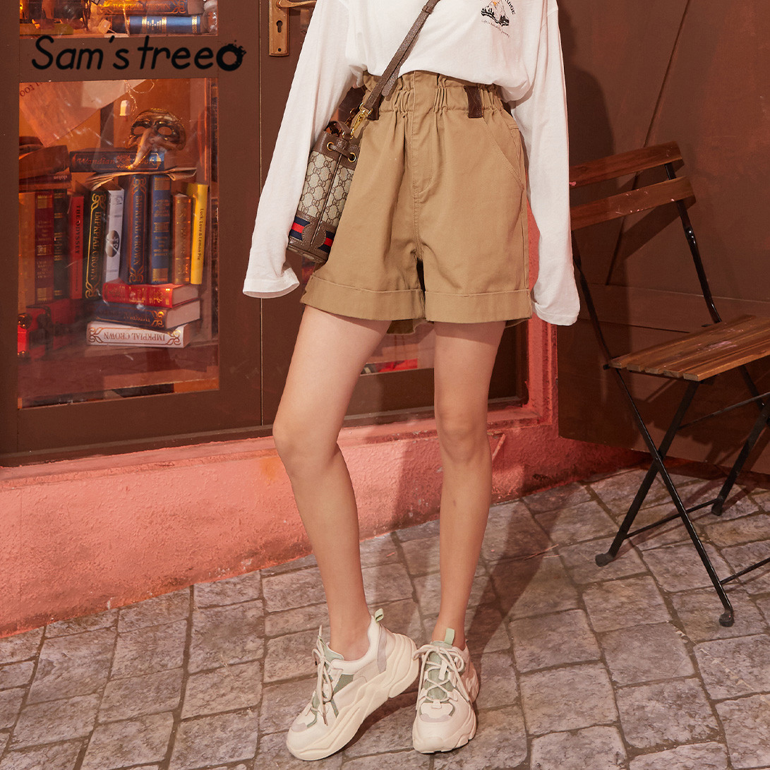 SAM'S TREE Khaki Solid Flower Bud High Waist Casual Women Shorts 2020 Spring Pure Straight Korean Style Ladies Daily Bottoms