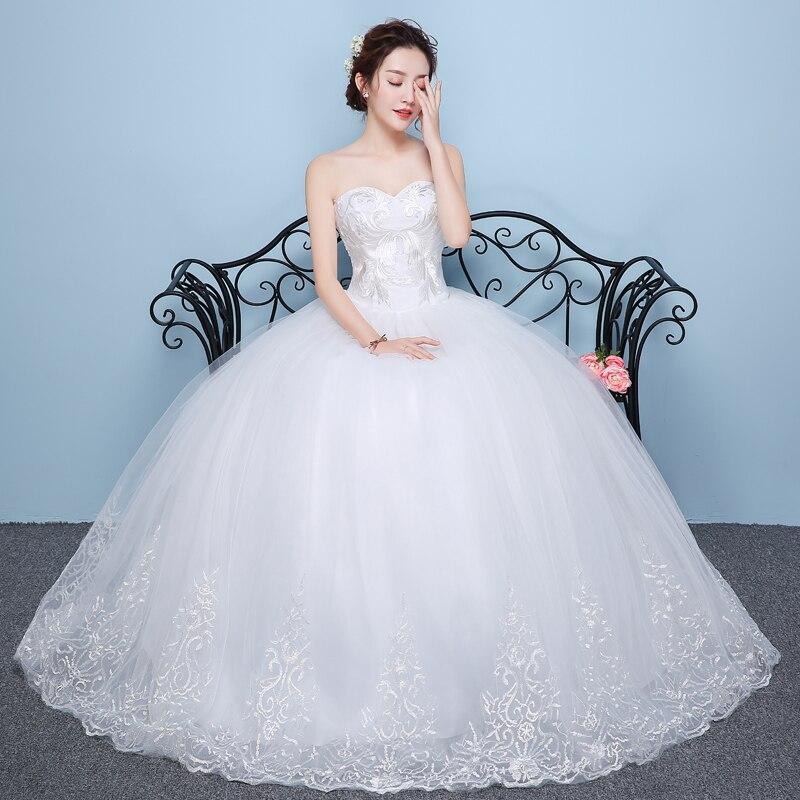 Sexy Wedding Dress Ball Gowns Bride New Strapless Satin Wedding Dress Bridal Lace Up Flower Dresses