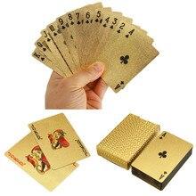 Poker impermeable de la cubierta de la hoja de oro de tablero de juego de naipes magia de tarjetas de regalo colección