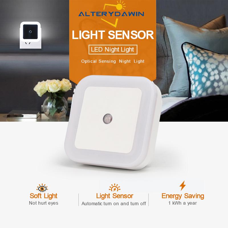 LED Night Light Mini Lighting Sensor Control 110V 220V EU US Plug Nightlight Lamp For Children Kids Living Room