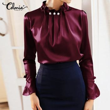 Womens Elegant Satin Blouse Celmia Office Solid Silk Long Flare Sleeve Blusas Fashion Party Tops Shirt Casual Femme Plus Size 7 fashion summer womens blouse long lantern sleeve solid casual shirt celmia ladies cold shoulder sexy tops irregular blusas mujer
