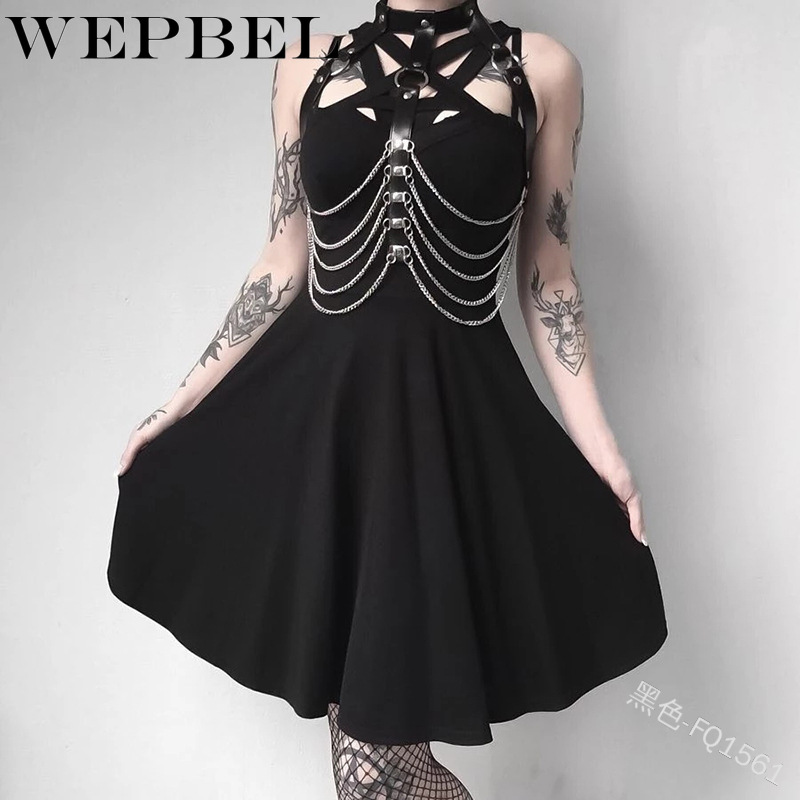 WEPBEL Women Gothic Hollow Out Strap Dress Mini Sexy Sleeveless  Ladies Female Dresses