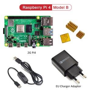 Image 2 - ラズベリーパイ 4 モデル b キットの基本的なスターターキットと在庫電源スイッチラインタイプ c インタフェース eu/米国充電アダプタとヒートシンク