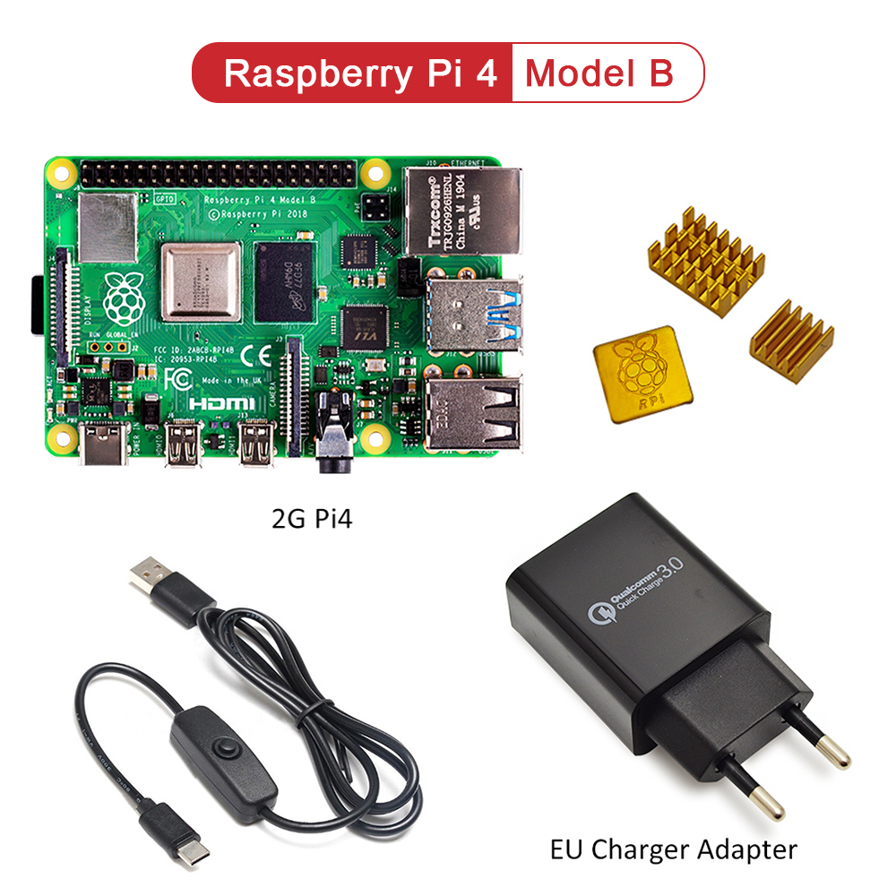 Raspberry Pi 4 Modelo B kit Básico de inicio en stock con interruptor de alimentación interfaz tipo c adaptador UE/cargador para EUA y disipador de calor