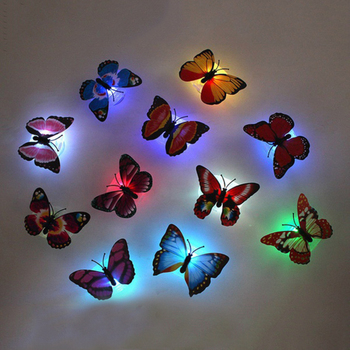 Color light Butterfly Wall Stickers easy installation night light Home living kids room Fridage bedroom decor night light LED 3d image