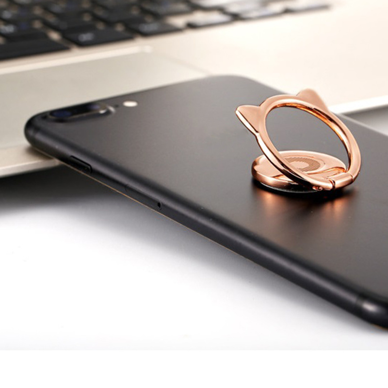 Alloy Cat Ear Cute Finger Ring Holder Magnetic 360 Rotate Mobile Phone Stand For IPhone 8 X 11 For Samsung For Xiaomi For Huawei