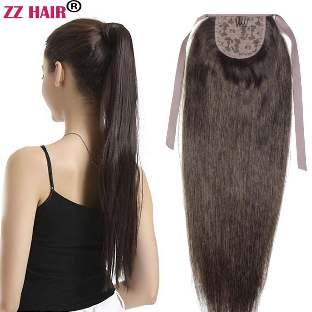 "ZZHAIR 80g 16""-24"" Machine Made Remy Hair Ribbon Ponytail Clips-in Human Hair Extensions Horsetail Natural Straight Hair"