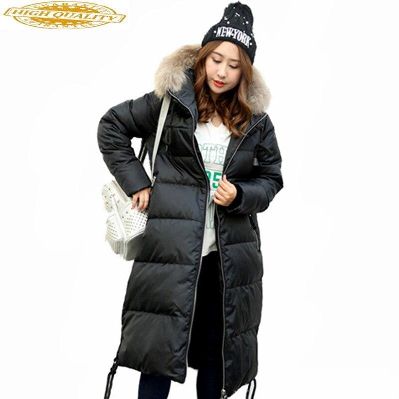 Womens Down Jacket Raccoon Fur Collar 90% Duck Down Coat Female Warm Winter Parkas Plus Size 5XL 6XL 7XL 10XL Casaco 510