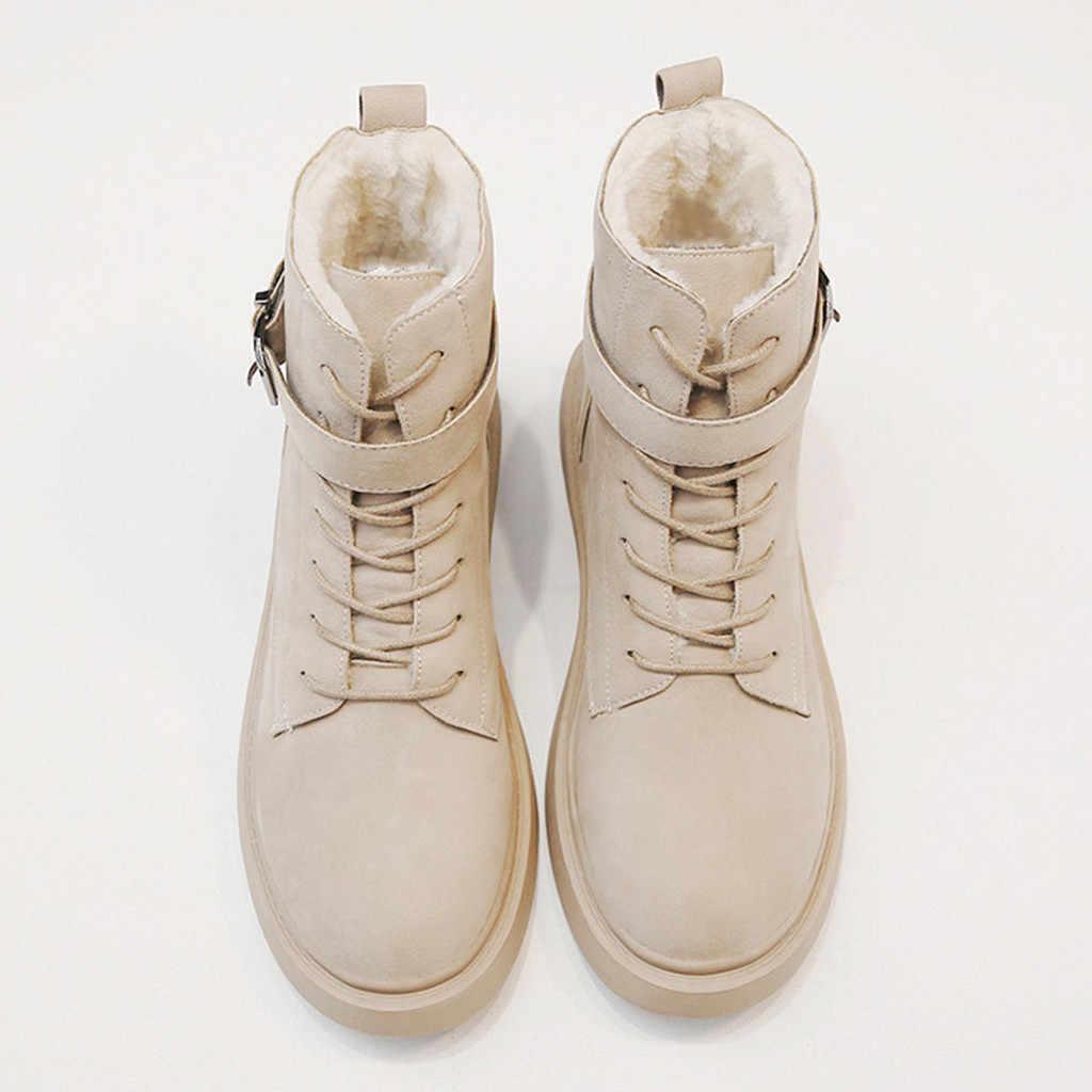 2020 ฤดูใบไม้ผลิฤดูใบไม้ผลิใหม่สตรีแฟชั่นสบายๆฤดูหนาว WARM หนาด้านล่างรองเท้าข้อเท้าสั้นรองเท้าผู้หญิงฤดูหนาวรองเท้าบูท # O21