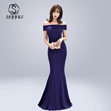 Skyyue Evening Dress Boat Neck Women Party Dresses Sexy Off The Shoulder Robe De Soiree 2019 Plus Size Zipper Formal Gowns C081
