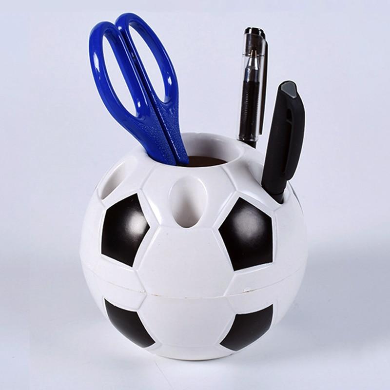 Sports Desk Decoration Rack  Soccer Ball Shaped Toothbrush Pen Team Football Gifts Home Makeup Pencil Shape Holders Brush Holder