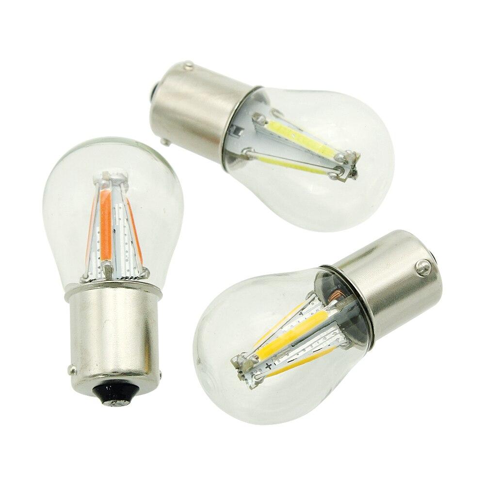 2 шт. 1156 BA15S BAU15S 1157 BAY15D светодиодный автомобильный тормоз светильник Обратный лампы 12V COB лампа накаливания, авто парковочная лампа указателя ...
