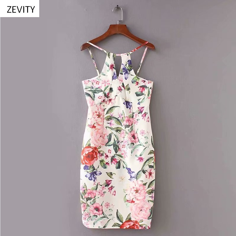 Zevity New women sexy floral print hole kneeth sling dress female backless hip package vestido slim party pencil dresses DS3984