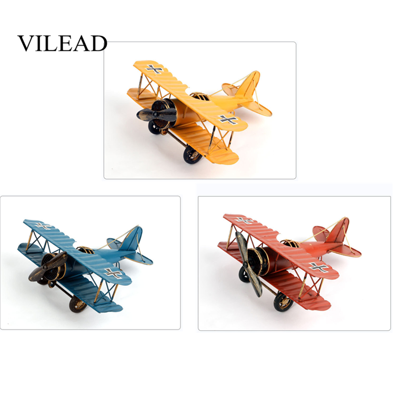 VILEAD 21cm Iron Airplane Figurines Retro Metal Plane Model Vintage Home Decoration Accessories Aircraft for Kids Gifts Ornament image