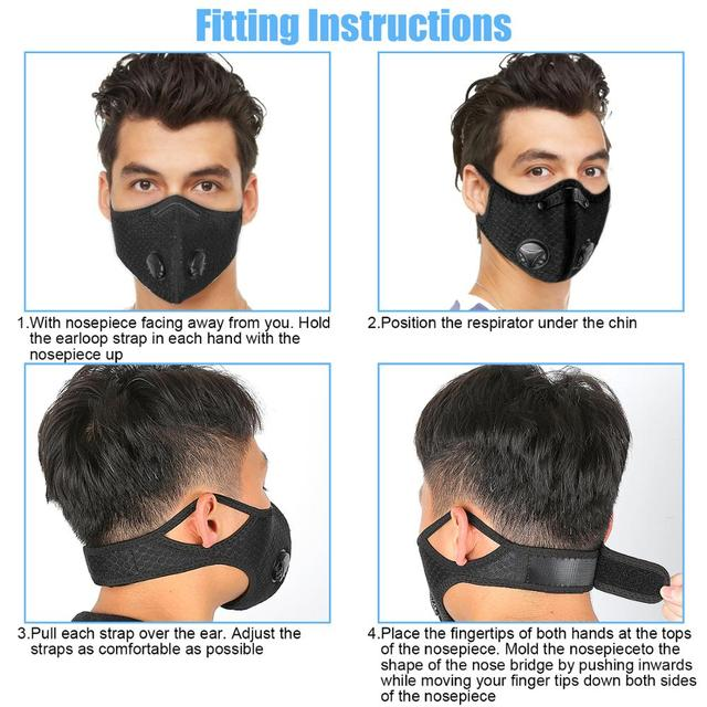 3PCS Sport Face Mask With Filter PM 2.5 Anti-Pollution Running Cycling mouth Masks protection respirator facemask 1