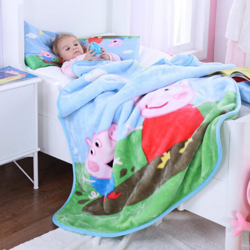 Genuine Peppa Pig Time For Bed Lamb Cashmere 150cm Quilt+42cm Pillow Suit Cartoon Warm Plush Quilt For Autumn /winter Kids Toy