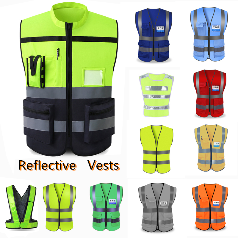 Unisex High Visibility Reflective Safety Vest Traffic Warning Waistcoat Construction Protect Clothing Sanitation Utility Workwea