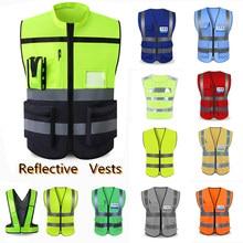 Colete de alta visibilidade unissex reflexivo, colete de aviso de tráfego, colete de segurança para proteção de roupas, utilidades de sanitário