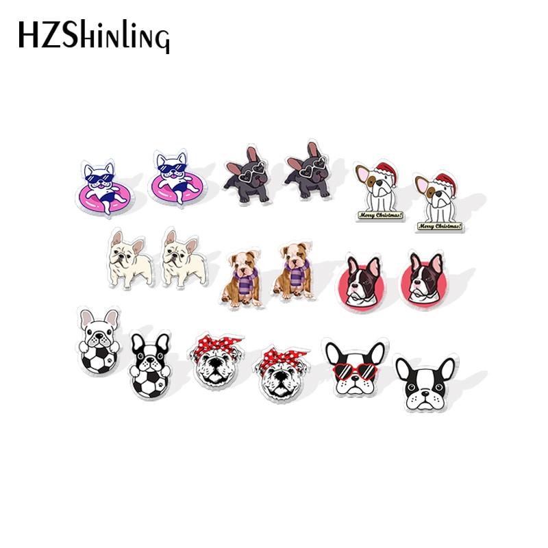 Acrylic Earrings Bulldog Jewelry Epoxy Handmade Resin Dinks Funny French New