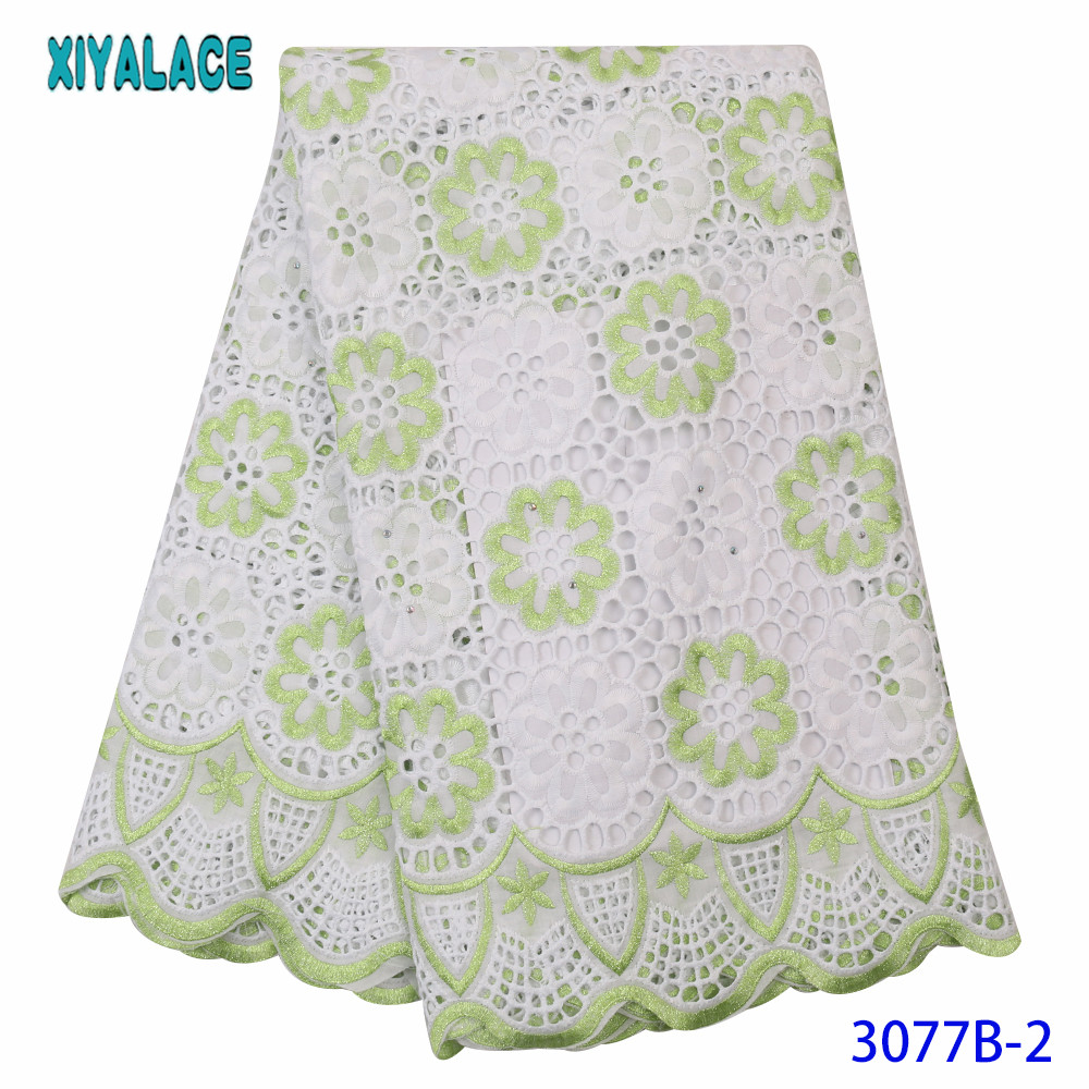 African Lace Fabric High Quality Nigerian Dry Cotton Embroidery Laces With Stones Hollow Out French Lace Fabric KS3077B