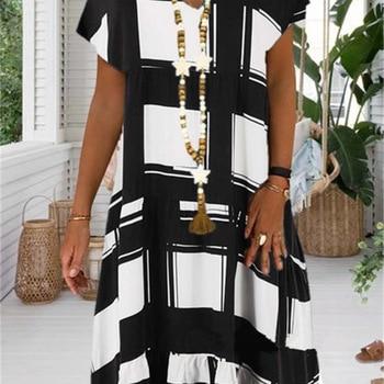 Large size casual women dress spring / summer 2020 Women Dress fashion digital printed V-neck short sleeve dress fashionable round neck short sleeve plus size printed dress for women