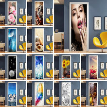 3D Stereo Flower Door Stickers For Living Room Bedroom Renew Decal Self-adhesive Removable Wine Cabinet Home Decor Wallpaper(China)