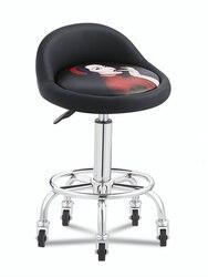 Taburete de belleza, barbería, silla de salón de peluquería, taburete giratorio de elevación redonda, taburete de salón de uñas, banco especial de trabajo de polea
