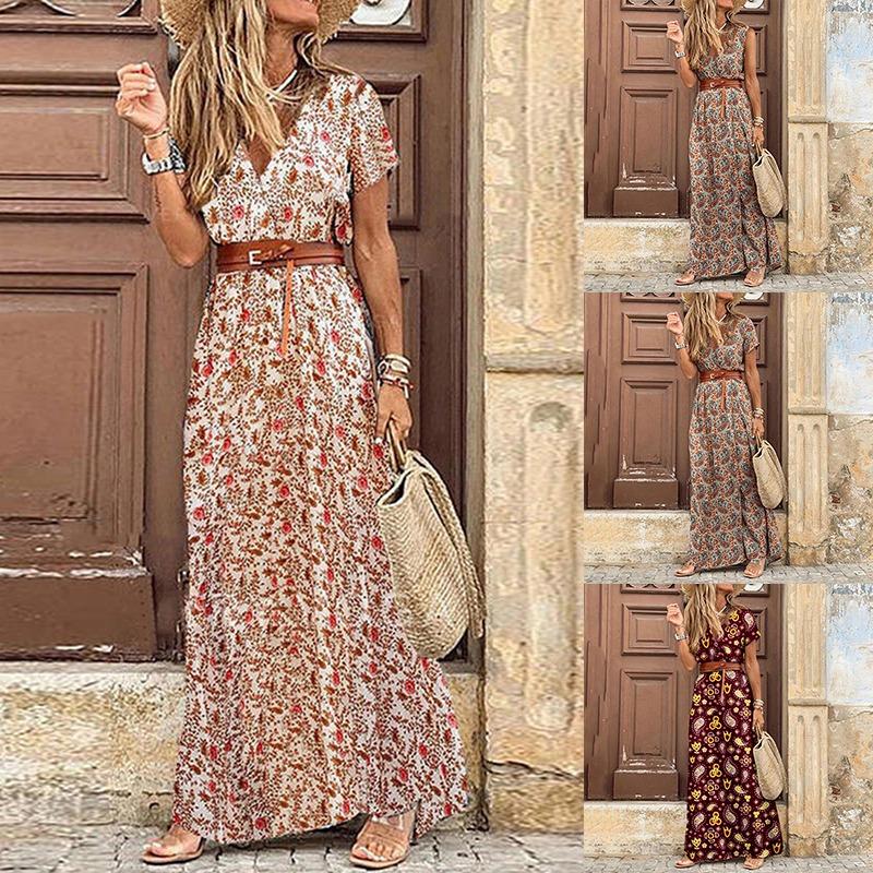 Womens Long Dress Summer V neck Boho Belted Maxi Dress Casual Sexy Party Dress Ladies Bohemian Beach Holiday Sundress 2021