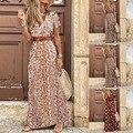 Женское длинное платье с V-образным вырезом, летнее богемное Платье макси с поясом, повседневное сексуальное праздничное платье, женский пл...