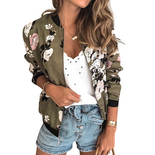 Floral Print Women Short Jacket Retro Zipper Up Jacket Female Casual Basic Coat Ladies Bomber Outwear Clothing Slim Jacket D30 floral print contrast trim zip up jacket