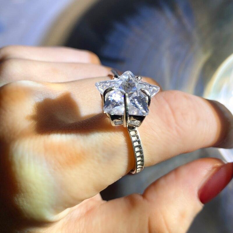 Hip Hop étoile à cinq branches Simple anneau cristal Index bagues mode cadeau de noël personnel pour les femmes hommes mariage