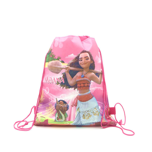 8/16/24/50PCS Moana Princess Drawstring Bags For Girls Kids With Gift Or Candy Travel Package Butterfly Bee School Backpack