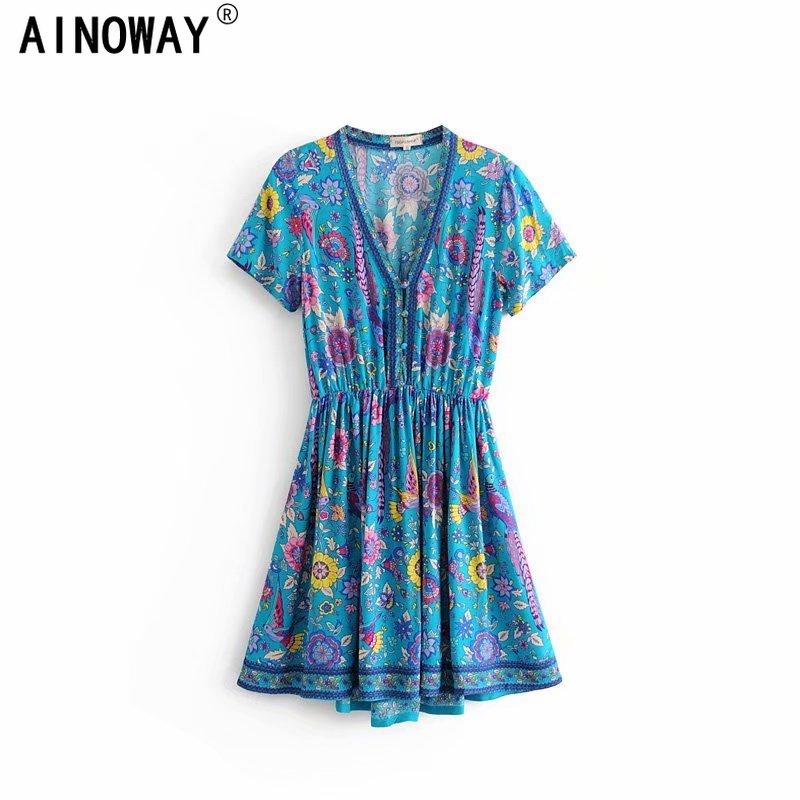 Vestido bohemio de moda para mujer, estampado floral, escote en V profundo, manga corta de rayón, bohemio