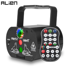 ALIEN 60 Patterns USB Recharge DJ Disco RGB LED Laser Projector Stage Lighting Effect Party Holiday Dance Christmas Sound Lights