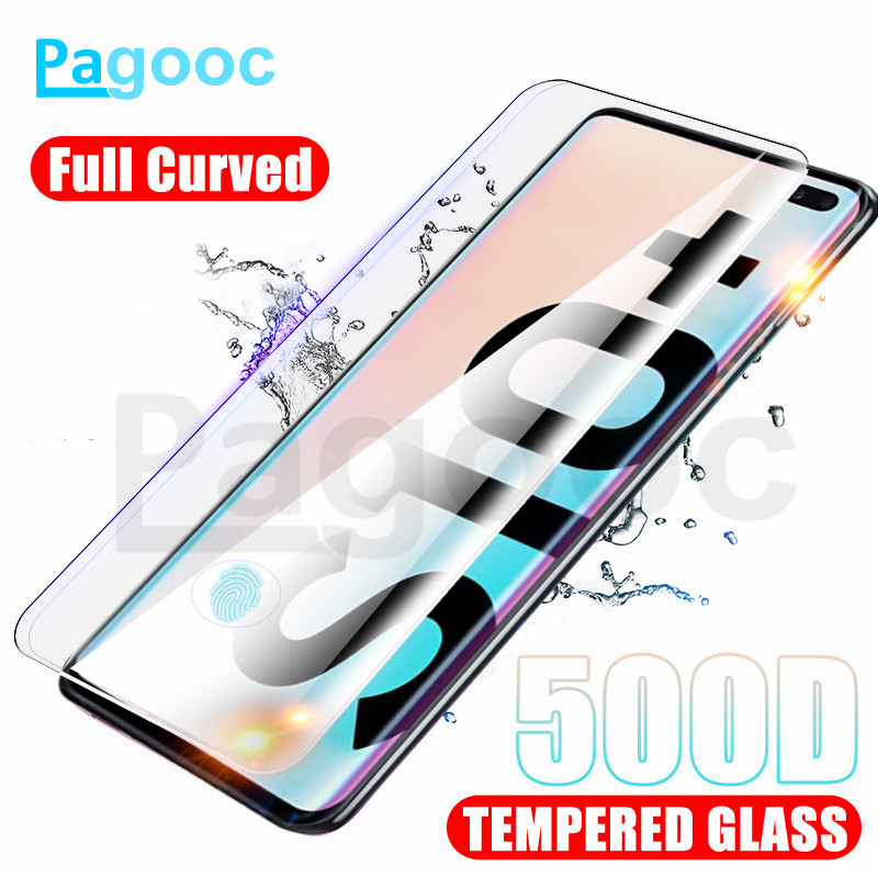 500D Full Curved Protective Glass On For Samsung Galaxy Note 8 9 10 Pro S10E S10 S9 S8 Plus Screen Protector Tempered Glass Film