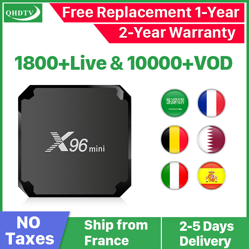 X96 Mini Android 9.0 France IP TV Box Quad Core QHDTV Set Top Box X96mini 1 Year IPTV Belgium Dutch French Algeria Arabic IPTV