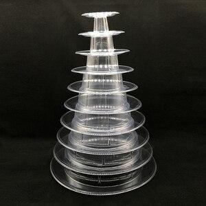 Image 2 - 10 Tier wieża Macaron Macaron stojak okrągła do ciasta stojak pcv taca urodziny ślub stojak wystawowy ciasto dekorowanie narzędzia