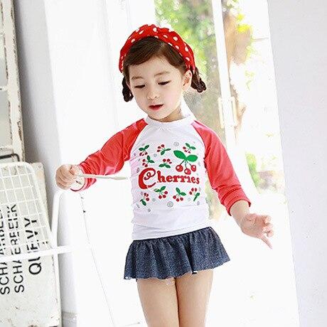 2016 Korean-style New Style KID'S Swimwear Fashion Sweet Cute GIRL'S Swimsuit Split Type Long Sleeve Sun-resistant Baby Swimwear