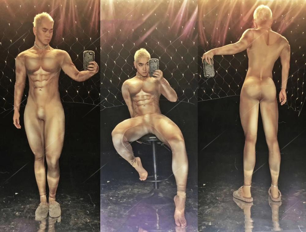 Muscle Man Nude Bodysuit Male Guest Gogo Sexy Dj Ds Catwalk Nude Print Jumpsuit Sexy Stage Show Costume