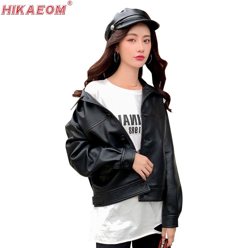 Autumn Women Pu   Leather   Short Coat Faux   Leather   Slim Single Breasted Loose Long Sleeve Bf Style Jaqueta De Couro Feminino 2019