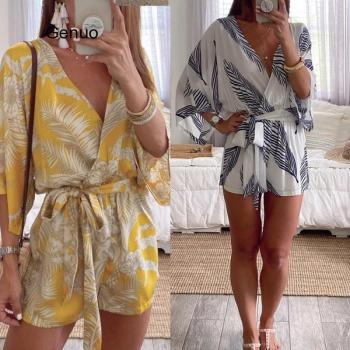 Women Summer Sexy Deep V Neck Playsuit Ladies Print Long Sleeve Loose Shirt Jumpsuit Fashion Female Romper Blouse Romper elegant fashion lady women holiday playsuit romper long trousers loose jumpsuit summer beach sleeveless v neck sexy bodysuit
