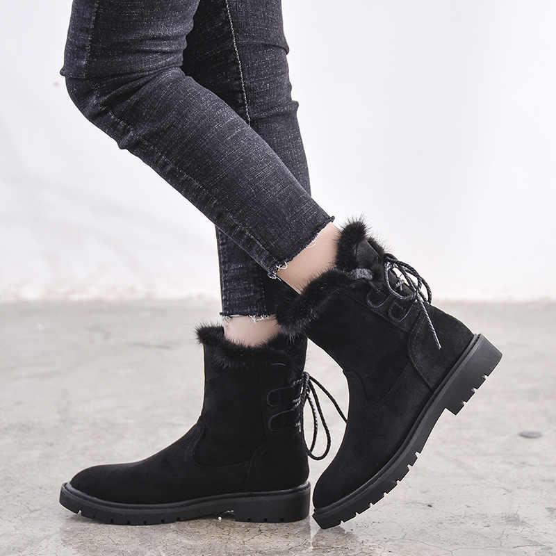 30 derece Sıfır Kar Botları Kadın Kış Ayakkabı Kalın Sıcak Peluş Soğuk Kış Kadın Botları Bayanlar yarım çizmeler Siyah a1779
