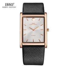 IBSO 7 MM Ultra-thin Square Case Design Mens Watches Genuine Leather Strap Fashion Luxury Quartz Watch Men Business Clock